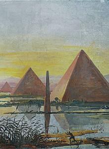 Paesaggio egiziano con piramidi